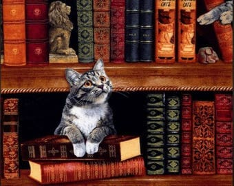 Timeless Treasures - Library Cats - Cats in the Library - Fabric by the Yard C2863-LIBR