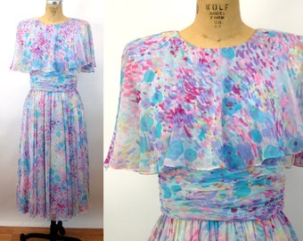 1970s dress floral abstract cape dress sheer chiffon Miss Elliette special occasion dress Size M/L