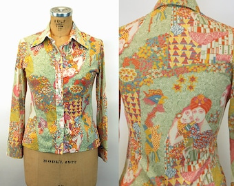 1970s women nylon silky shirt disco shirt groovy op art floral ethnic shirt by Langtry Size M