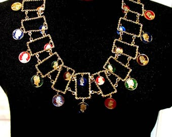 Vintage Rare Crown Trifari Gold Tone Chain Belt Necklace Napoleon Enamel Coins Huge Chunky & Funky
