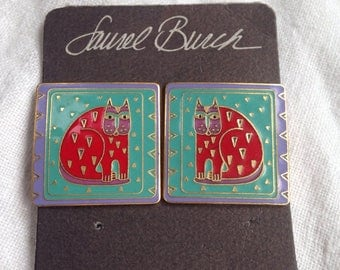 Laurel Burch Fantastic Feline Cat Earrings on Original Card
