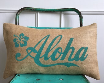 Aloha turquoise aqua Hawaii burlap pillow hessian cushion cover