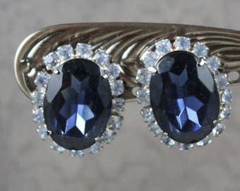 Vintage Sapphire and Light Blue Oval Rhinestone Silver Tone Clip On Earrings
