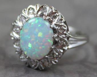 Vintage Synthetic Opal Diamond 14K White Gold Ring