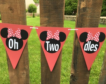 Minnie Mouse Oh Twodles Chair Sign Pennant Flag Banner Minnie Mouse Inspired Birthday Party Garland Paper Flag Bunting Wedding Flags