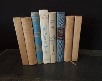 Beige Tan Blue Books - Decorative Mixed  Book Collection -  Books for Decor Vintage - Instant Decor