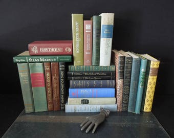 Classic Books Literature Novels  - Book Walls for Decor Reading - Books for Decor - Vintage Instant Library 23 Books