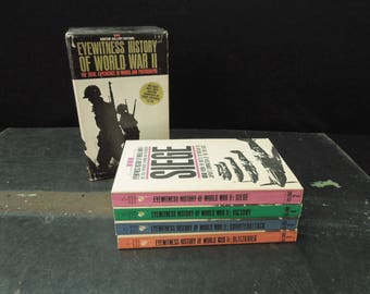 Eyewitness History of World War II - Four Book Collection in Slipcase 1960's - Vintage Boxed Book Set Paperback -