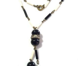 SALE SALE Amazing Art Deco Black White Glass Ball Rhinestone Vintage Necklace