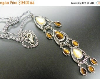 CIJ SALE Christmas JULY Stunning Tigers Eye Mother of Pearl Sterling Silver Vintage Drop Necklace