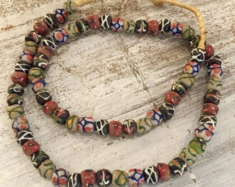 CIJ SALE Christmas JULY Beautiful African Drizzle Glass Antique Vintage Tribal Trade Bead Necklace