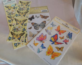 Scrapbook Stickers Butterfly 3 Unopened Assorted Packages and 1 Bonus Sheet