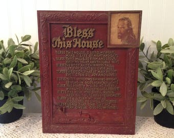 "vintage ""Bless This House"" plaque, (c) Boosey & Hawkes, Jesus image. Deep burgundy, gold lettering Home Blessing. Cottage Farmhouse decor."