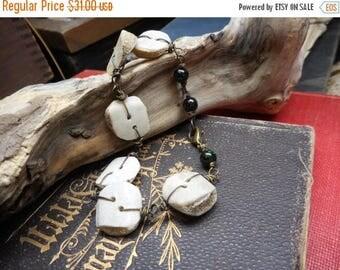 Forest Dweller: Kinsley. Genuine Deer Antler buttons & Green goldstone beaded folkart handmade rustic natural ooak bracelet