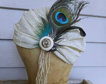 Rhiannon. Queen of Birds. Antique 1910's Flapper Silver Metallic Hat. Antique French Metal Bullion, Peacock & bird feathers, antique buttons