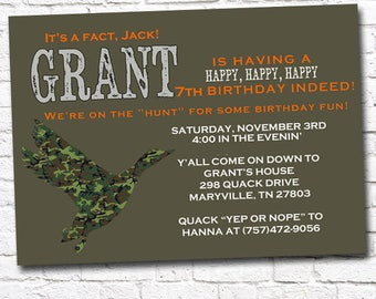 Printable DUCK HUNT Duck Dynasty Inspired Birthday Party Invitation by Moo Moo's & Tutus Party Designs