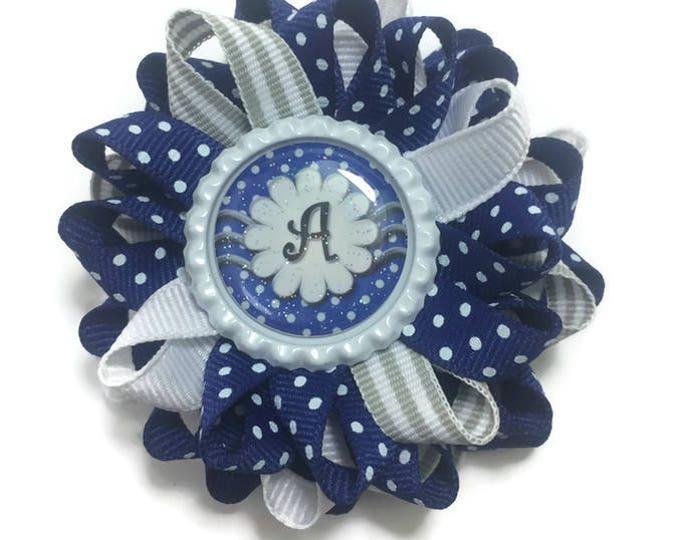 Blue & Silver Initial Hair Bow