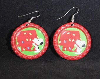 Christmas Bottle Cap Earrings-Snoopy Doghouse-Snoopy Earrings-Holiday Earrings-ScrubHeads