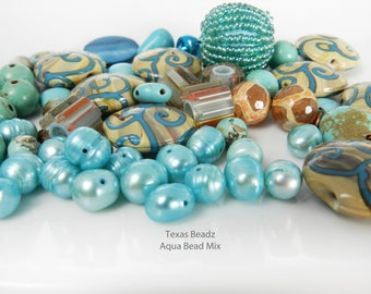 Aqua Bead Mix Multi Color Beads Blue Bead Mix Multicolor Mixed Color Turquoise Beads Lampwork Furnace Dzi Beads