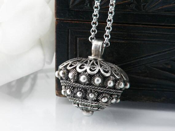 Antique Silver Pendant | Early 20th Century European Cannetille Silver Fob Pendant | Dutch Klederdracht .830 Silver - 34 Inch Long Chain