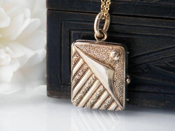 Antique Locket | Victorian Gold Filled Book Locket | Art Nouveau Silver Book Locket | Jugendstil Photo Locket - 24 Inch Chain Included