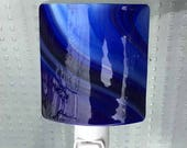 Night Light Plug In, Royal & Navy Blue Swirl, Contemporary Art Glass