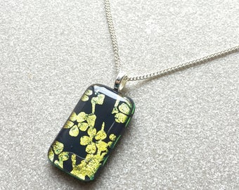 Pendant Necklace, Gold Cherry Blossoms, Glass Jewelry