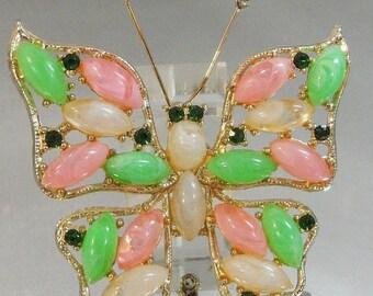 SALE Vintage Butterfly Brooch. Regency Style. Pink. Green. White Rhinestones