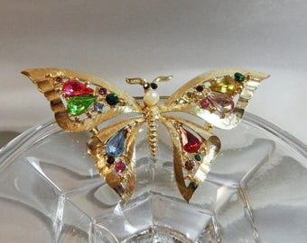 SALE Vintage Butterfly Brooch. Gold Plated. Blue. Pink. Green. Yellow Rhinestones