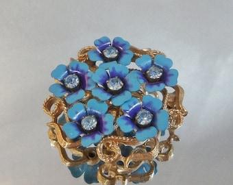 SALE Vintage Flower Brooch. Pendant. Blue and Purple Avon Floral. Rhinestones.
