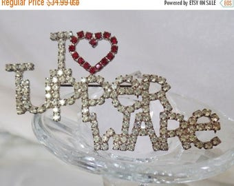 SALE Vintage I Heart Tupperware Rhinestone Brooch.  Unsigned Dorothy Bauer Pin.