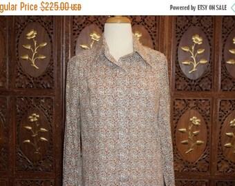 ON SALE 1960s LANVIN Cotton Floral Print Shirt Dress