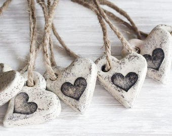 Salt Dough Ornaments / Heart Ornaments / Rustic Heart / Wedding favors / Set of 6 / Guest Favors / Gift Tags / Valentine Heart