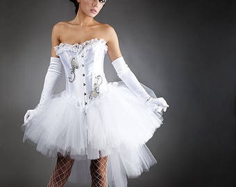 Custom size White tulle Burlesque Corset Prom dress with tulle shawl