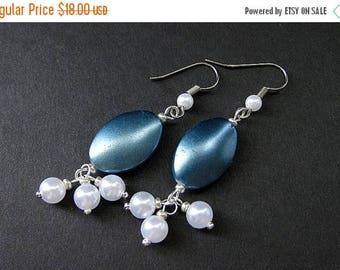 SUMMER SALE Cadet Blue Earrings. Beaded Pearl Dangle Earrings - Blue Twilight. Handmade Earrings.