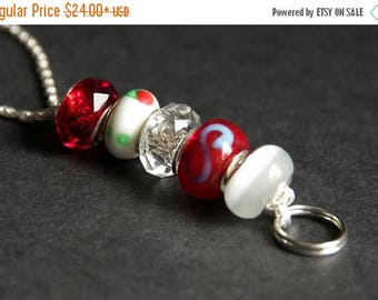 BACK to SCHOOL SALE Red Lanyard. Badge Lanyard. Cherry Red and White Lanyard. Beaded Lanyard. Id Badge Holder. Badge Necklace. Handmade Lany