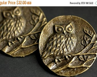 BACK to SCHOOL SALE Two (2) Norse Shoulder Brooches. Owl Brooches. Bronze Apron Pins. Bronze Viking Brooches. Owl Jewelry. Historical Reenac
