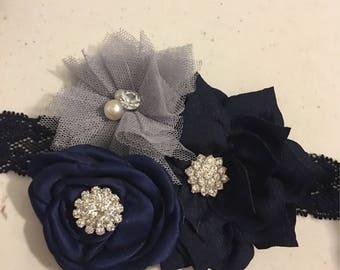 Navy elastic headband, grey flower headband, ivory elastic headband, baby headband, toddler headband, newborn headband, flower girl headband