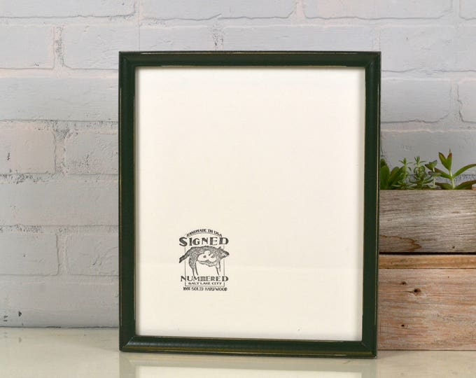 """Handmade 11x13"""" Picture Frame in Foxy Cove Style with Vintage Forest Green finish - IN STOCK Same Day Shipping - Green Frame 11 x 13 inches"""