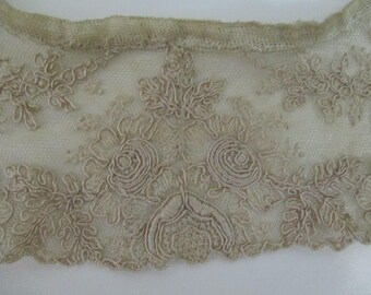 FREE SHIPPING Hand Embroidered Antique Vintage  Lace Trim Vintage Collar Net Lace