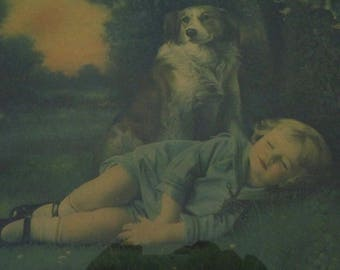 Antique Lithograph Print Wall Hanging Picture Child Dog