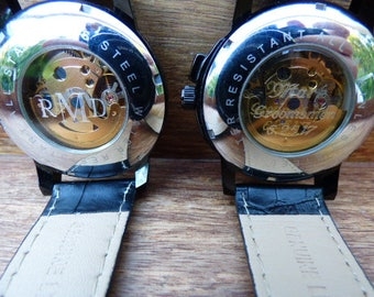 """Wrist Watch Personalized Engraving Service for 1"""" back view window, Add-on with watch order"""