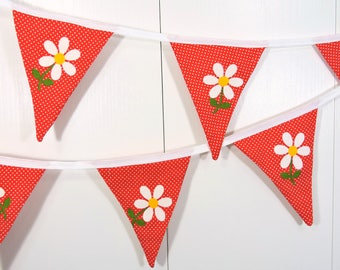 Red Flower Bunting Flags / Red Daisy Bunting Flags / Polka Dot Pennant Flags