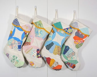 ONE Vintage Quilt Stocking / Upcycled Quilt Christmas Stocking / Dresden Plate Quilt Stocking /