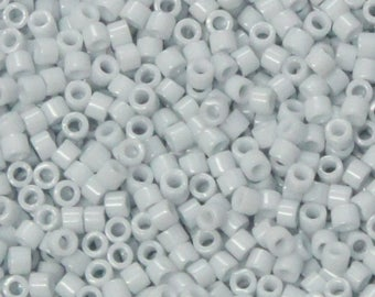 DB-0209 11/0 Miyuki Delica Seed Beads - 10 grams - opaque light blue grey luster - round cylinder seed beads