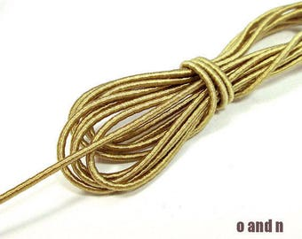 Wrapped silk cord, thin satin rope 1.5mm, golden beige, 4 meters