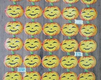 60 Pc. 1930s Halloween Smiling Pumpkins German Die Cut Scraps Paper Ephemera . Supplies