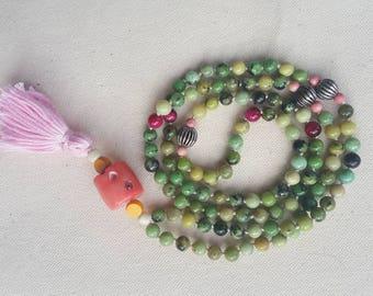 China Chrysoprase Mala Necklace | Meditation Beads | Mala Necklace | Mala | 108 Beads | Japa Mala| Gemstone Mala Necklace