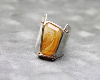 Wide Orange Dendritic Quartz Ring Tapered Flared Silver Band 14K Rose Gold One Of A Kind Statement Large Brazilian Gemstone - Golden Flare