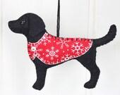 Labrador Christmas ornament, Felt dog ornament, Black labrador ornament, Dog Christmas Ornament, Handmade black labrador ornament